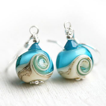 Beach Blue Earrings - lampwork beads on sterling silver, beach jewelry by MayaHoney