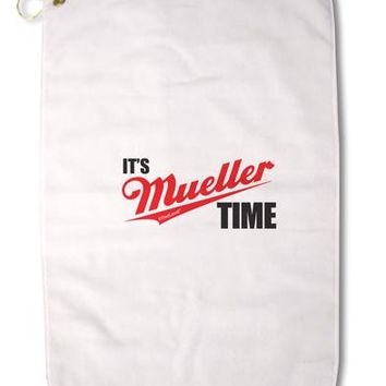"It's Mueller Time Anti-Trump Funny Premium Cotton Golf Towel - 16"" x 25 by TooLoud"