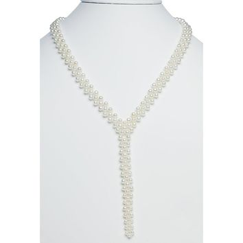 Sterling Silver Three Strand Freshwater Pearl Y Necklace - 17 Inches