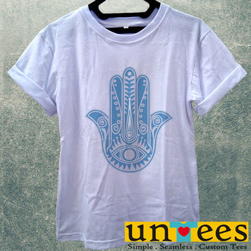Evil Eye Hamsa Blue Women T Shirt