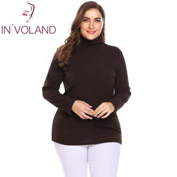 IN'VOLAND Plus Size Women Pullover Sweaters Autumn Winter Basic Classic Warm Mock Turtleneck Solid Loose Large Tops Big Size