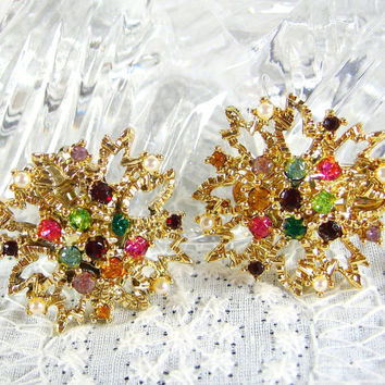 Vintage Rhinestone Earrings, Colorful Crystal Cluster, Imitation Pearls, Gold Tone Metal, Clip-ons, 1950s 1960s Mad Men, Summer Jewelry