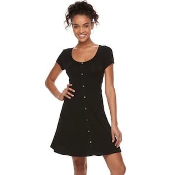 Juniors' SO® Button Front Short Sleeve Dress | null