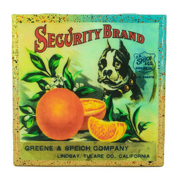 Handmade Coaster Security Brand - Vintage Citrus Crate Label - Handmade Recycled Tile Coaster