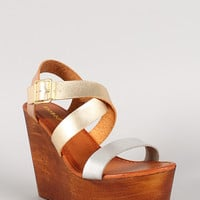 Bamboo Metallic Two Tone Strappy Open Toe Platform Wedge