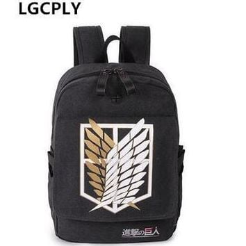 Cool Attack on Titan Hot-selling 2017  Backpack Japan Anime Printing School Bag for Teenagers Cartoon Travel Bag Nylon Mochila Galaxia AT_90_11