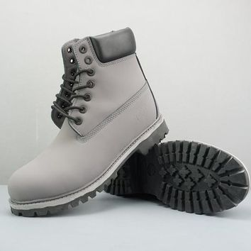 Timberland Leather Lace-Up Boot High Gray Black - Best Deal Online