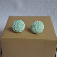Mint and Lace Fabric Button Earrings