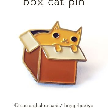 Box Cat Pin - Cat in Box pin - Enamel Cat pin - Cat box pin by Susie Ghahremani / boygirlparty