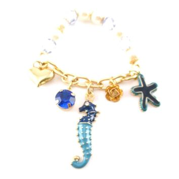 Seahorse Starfish Hearts Gemstones Jewels of the Sea Charm Bracelet | DOTOLY