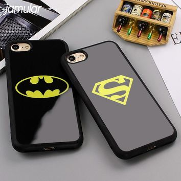 JAMULAR Batman Superman Phone Cover for iPhone X 7 6 6s 8 Plus 5s SE Cases Silicone Mirror Case for iPhone 6 6s 7 8 Plus Shell