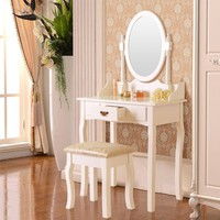 Dressing Table Makeup Desk W/Stool Drawers & Oval Mirror Bedroom White