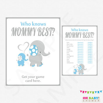 Blue Elephant Baby Shower Who Knows Mommy Best Blue and Gray Baby Shower Games Boy Printable Baby Shower Instant Digital Download ELLBG