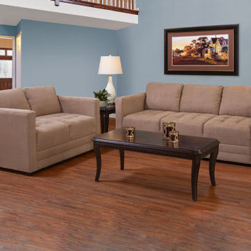 Tan Microfiber Couch Set | Sienna Mocha Sofa and Loveseat | American Freight