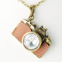 Vintage Like Clear Crystal Rhinestones Retro Inspired Camera Pendant Necklace: Jewelry: Amazon.com