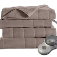 Sunbeam Quilted Fleece Heated Blanket, Full, Mushroom, BSF9GFS-R772-13A00