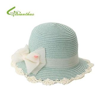 LMF78W 2017 Summer Children Sun Hat Bow Wide Brim Floppy Panama Princess Straw Hat Baby Girls Beach Hats Sun Caps Fashion 9 colors