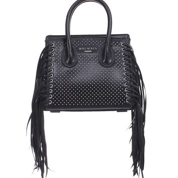 Balmain Black Studded Leather Mini 3D Fringes Leather Satchel Bag