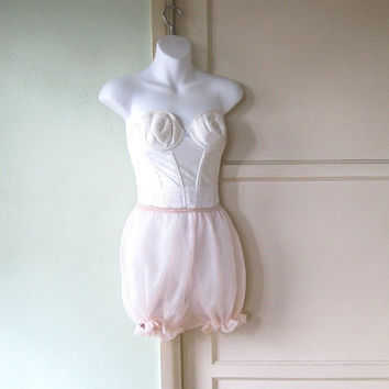 Pale Pink Bloomers with Rose Appliques - Big Pink Granny Knickers/Bloomers - Small-Medium Bloomers - Boudoir Pink Cosplay Bloomers