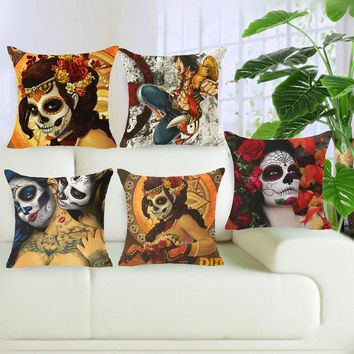 Hyha Sugar Skull Cushion Cover Flower Punk Rocker Skull Pillow Cover for Sofa Home Decorative Pillow Throw Pillow Cojines