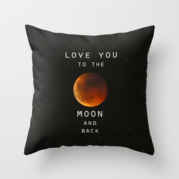 """Love you to the moon and back"".  Valentine's Day Throw Pillow by Guido Montañés"