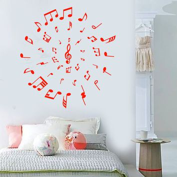 Vinyl Wall Decal Music Lover Notes Melody Style Musician Stickers Unique Gift (1647ig)