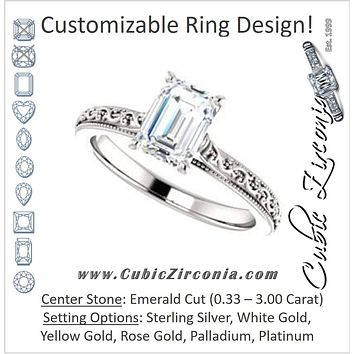Cubic Zirconia Engagement Ring- The Conchita (Customizable Emerald Cut Solitaire with Delicate Milgrain Filigree Band)