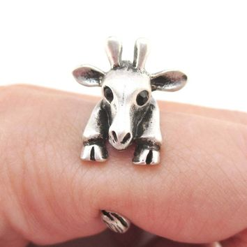 3D Giraffe Wrapped Around Your Finger Animal Ring in Silver
