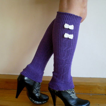 Purple Leg Warmers with Bow, Valentines Gift