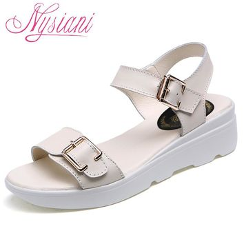 Nysiani Open Toe Wedge Sandals For Women 2017 Summer New Split Leather Solid Buckle Strap Student Casual Platform Sandals Girl