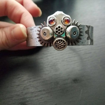 Gas mask bracelet, Steampunk jewelry, steampunk bracelet, aluminium etched bracelet, gas mask jewelry, handmade bracelet, gas mask cuff