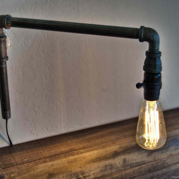 Steampunk Wall Lamp . Iron Lighting . Rustic Lighting . Swing Arm Lamp . Modern Light Fixture . Urban Lighting . Lighting