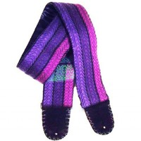 Purple and Black Striped Jewel Tone Guitar Strap Hand Woven Hand Made | Coolstraps - Music/Instruments on ArtFire