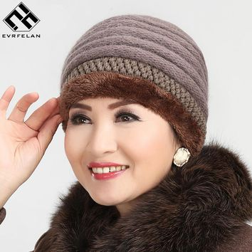 Hot Sales Knitted Velvet Fashion Winter Hat Women Warm Hat  Skullies Beanies Women Beanies Hat Cap Pure Color Drop Shipping