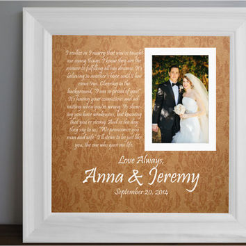 289fca2a22ae Parents Wedding frame - Thank you parent gift - Custom Picture Frame - Parent  Anniversary Gift