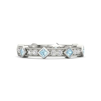 14K White Gold Ring with Aquamarine & White Sapphire