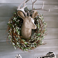 Estate Stone Deer Head Mount & Olive and Twig Wreath