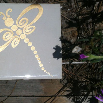 Gold Dragonfly Whimsical Victorian Style Garden Walkway Stepping Stone