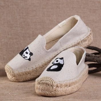 Soludos Women Thick-bottomed Panda embroidered straw shoes
