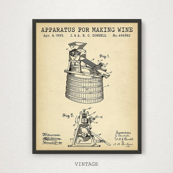 Wine Making Blueprint Patent Print, Digital Download, Bar Decor, Vintage Wine Poster, Retro Wine Print, Kitchen Wall Art, Wine Gallery Wall
