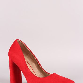 Suede Pointy Toe Chunky Heeled Pump