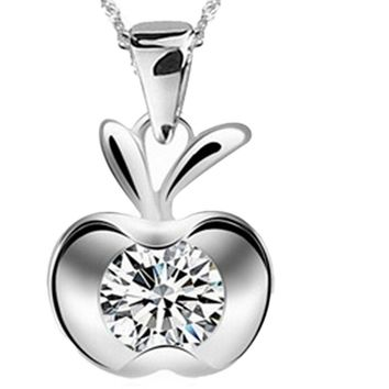 Silver Plated Clavicle Charm Small flat Apple Pendant Necklace
