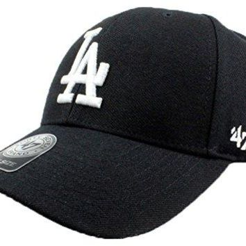 Los Angeles Dodgers Hat MLB Authentic '47 (Forty Seven) Brand MVP Velcroback Cap Black Black White Logo Baseball Cap Adult One Size Unisex Men & Women 85% Acrylic 15% Wool