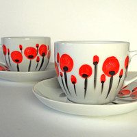 hand painted white coffee cup with red poppies by ArtOnPorcelain