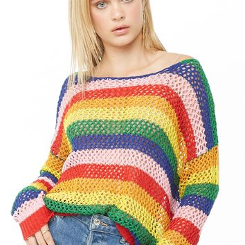 Multistriped Open-Knit Sweater