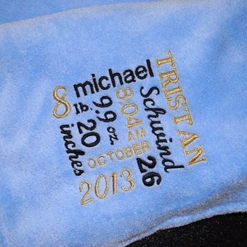 LARGE(50x60) Personalized Embroidered Birth Announcement Baby Blanket Throw in Cuddly Ultra Soft Minky Fabric with name, date, time & weight