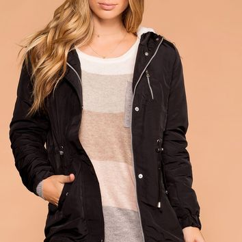 Andy Black Removable Hood Utility Jacket