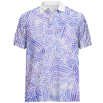 Lavender and white swirls doodles Polo Shirt