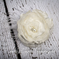 Ophelia Handsinged, Bridal Satin and Lace Hair Flower- handcrafted satin, silk, feathers, rhinestones, pearls, lace and birdcage netting