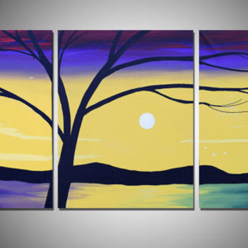triptych large wall art painting tree of life office abstract triptych oil landscape canvas art sculpture decorative artwork Modern 48 x 20""